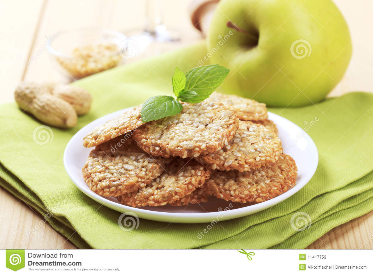 Healthy cookies made from sesame seeds, sunflower seeds, peanuts and ...
