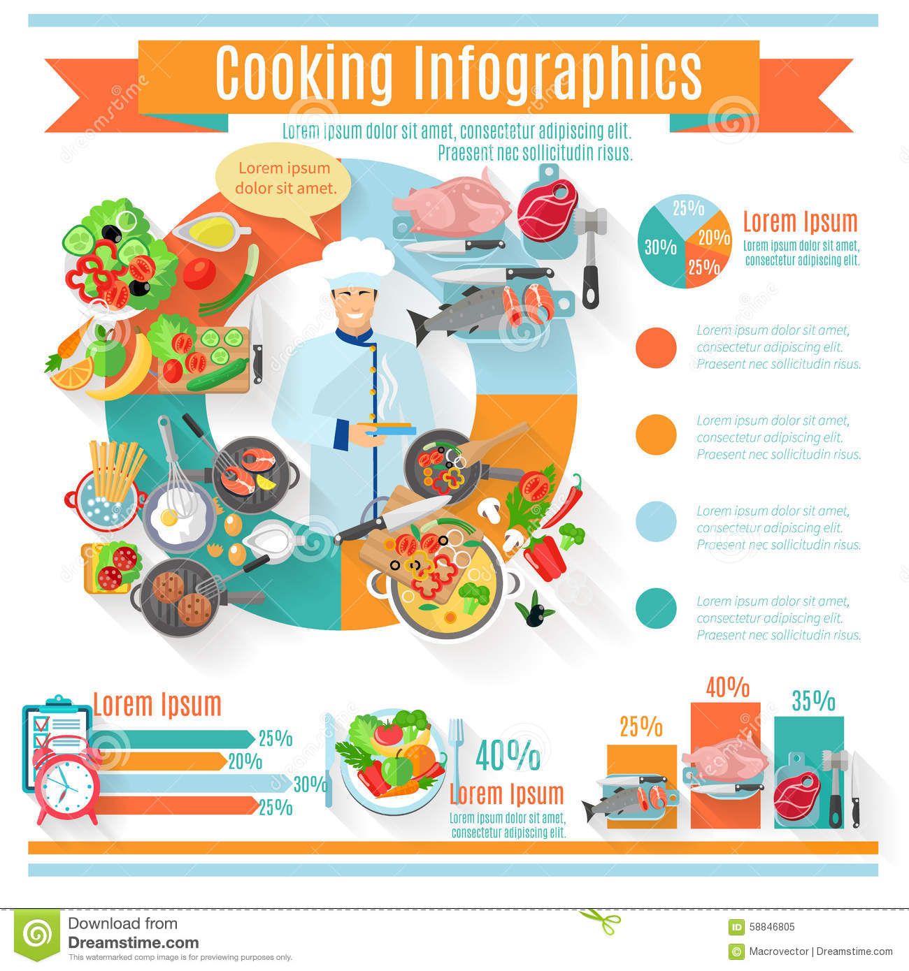 healthy cooking infographic informative poster stock vector    healthy cooking infographic informative poster