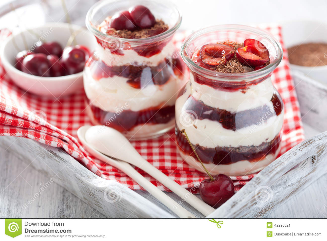 Healthy Dessert With Creme Fraiche Jam And Chocolate Stock Photo ...