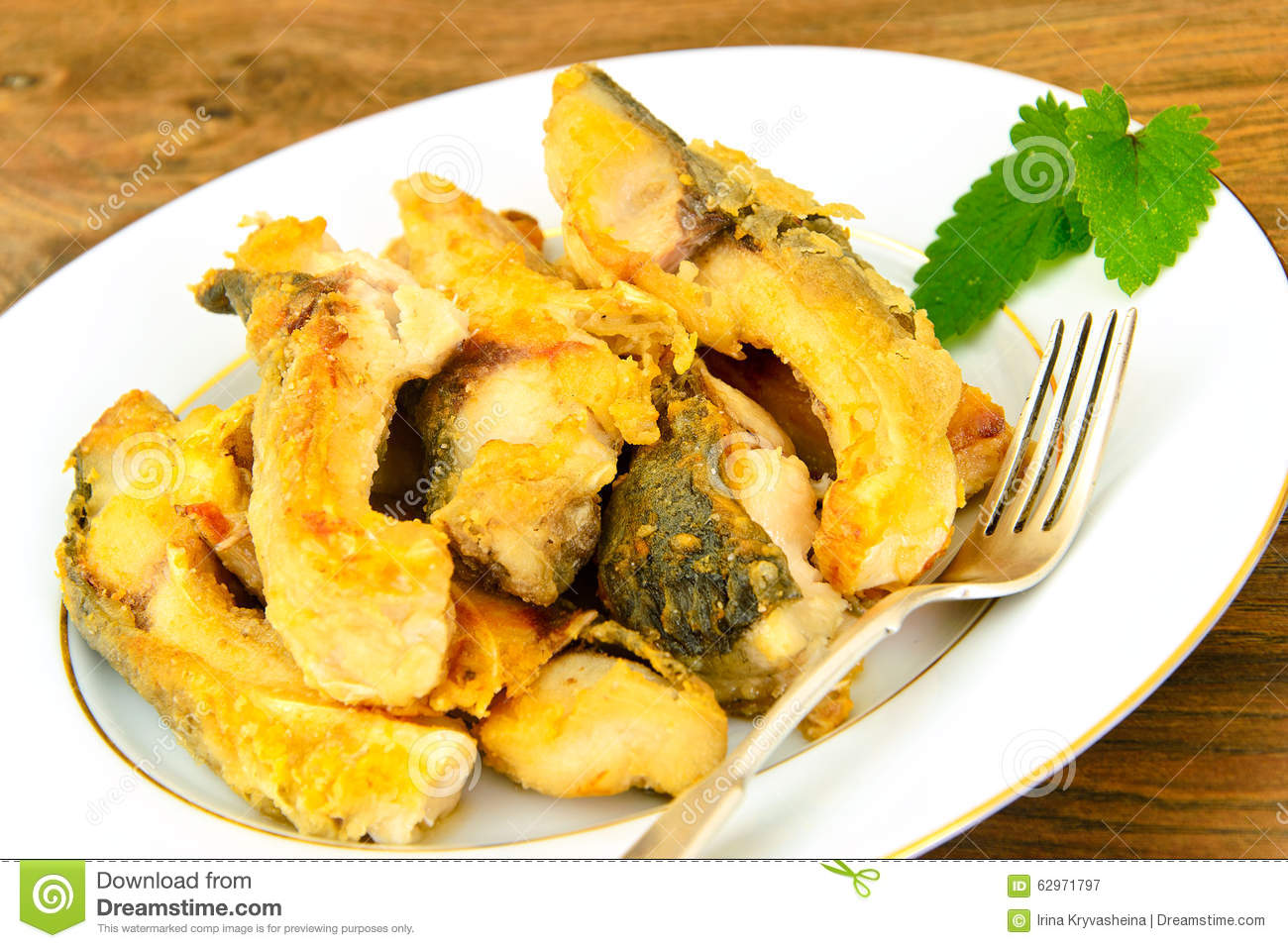 Healthy and diet food fried fish carp stock photo image for Is fried fish healthy