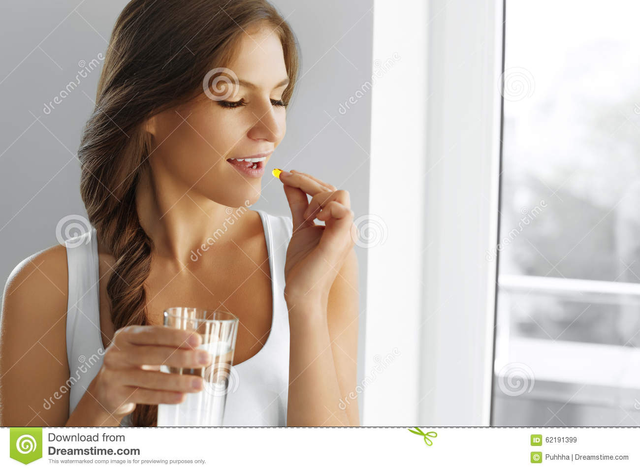 Healthy Diet. Nutrition. Vitamins. Healthy Eating, Lifestyle. Woman With Fish Oil Capsules.