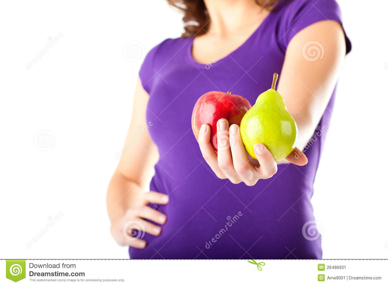 Download Healthy Diet - Woman With Apple And Pear Stock Image - Image of girl, apple: 26486931