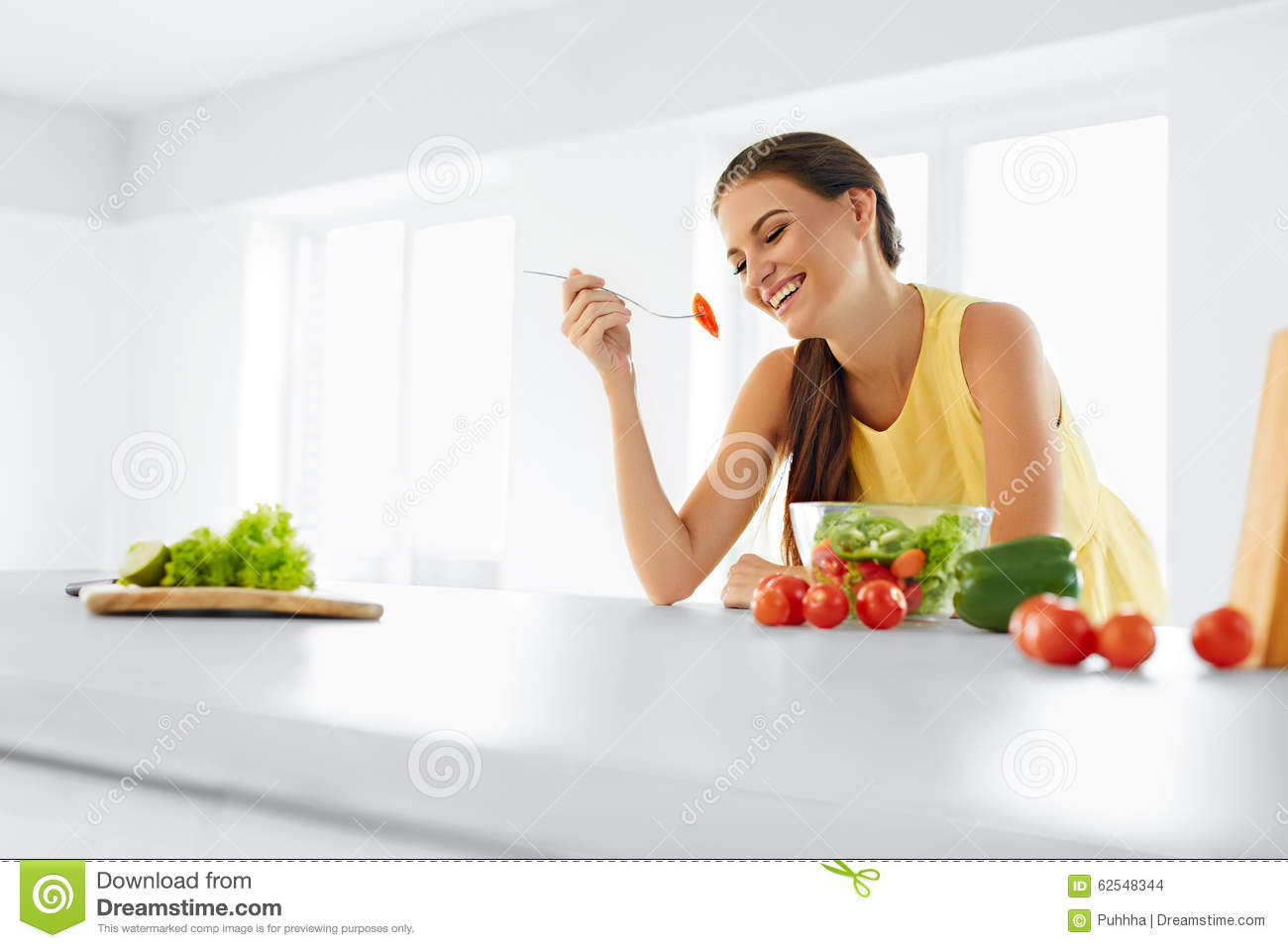 Healthy Diet. Woman Eating Vegetarian Salad. Healthy Eating, Foo