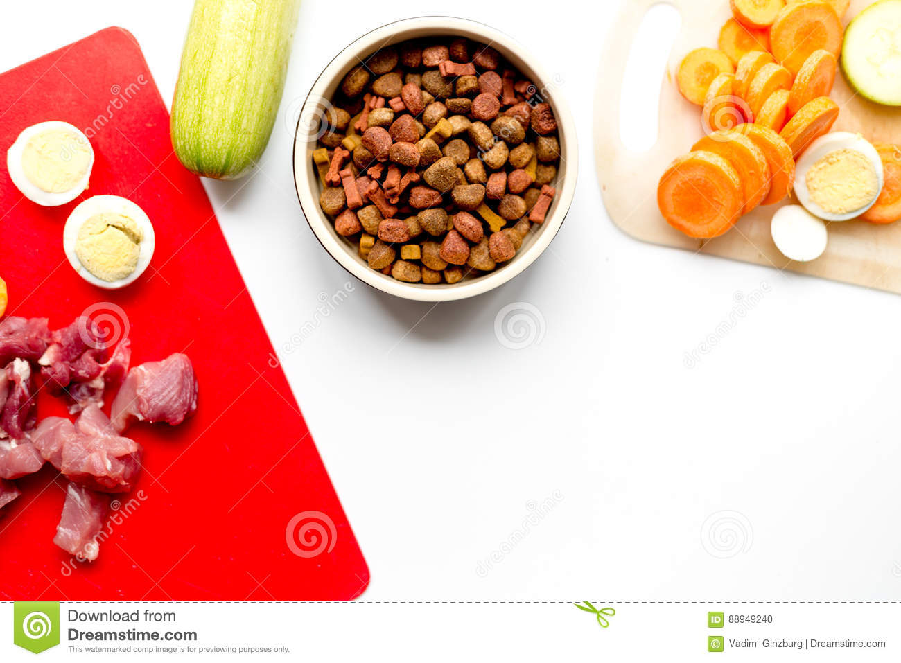 Healthy Dogfood With Eggs, Vegetables And Meat On Kitchen Top View ...