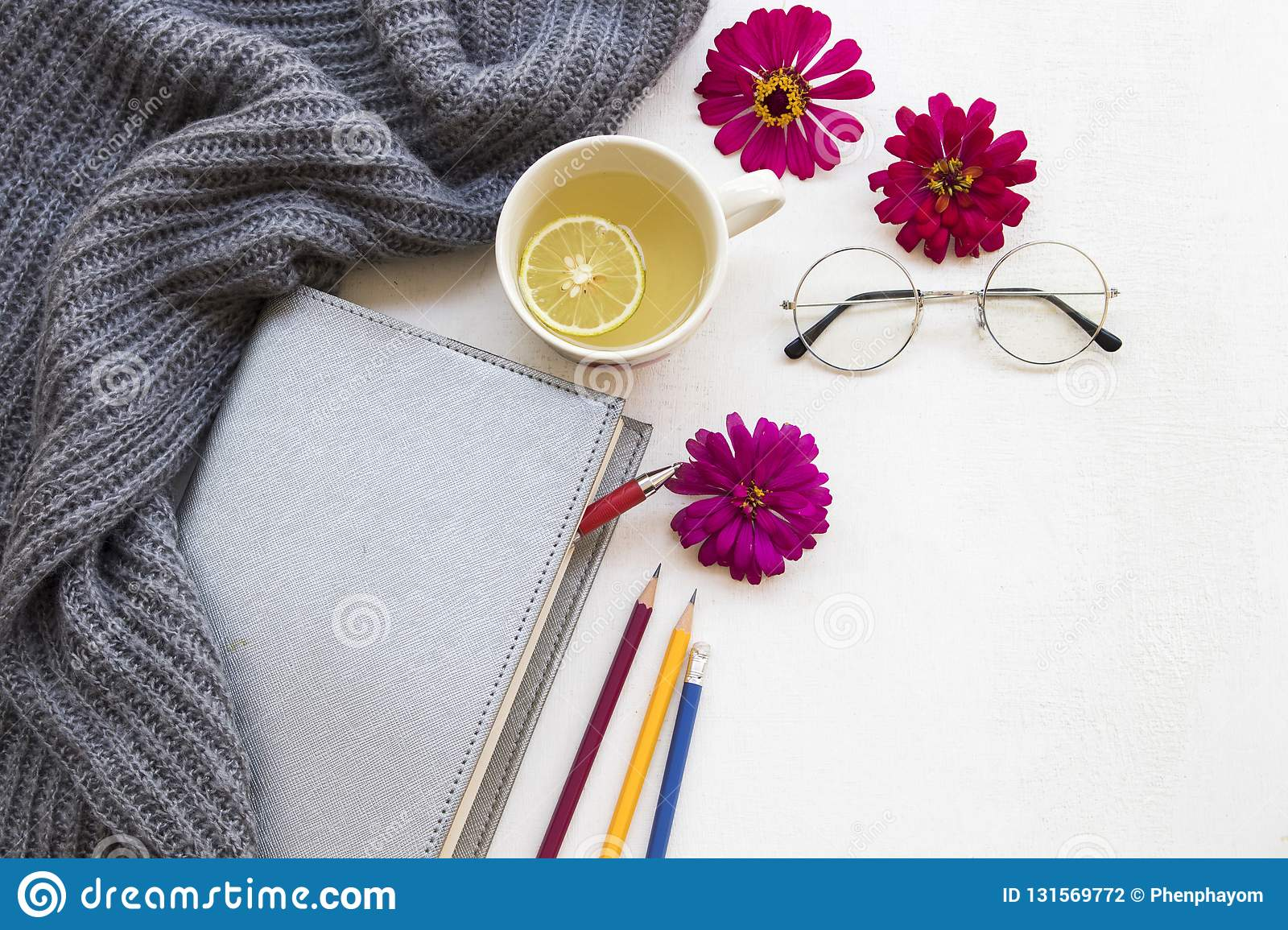 Healthy drinks and notebook planner for business work