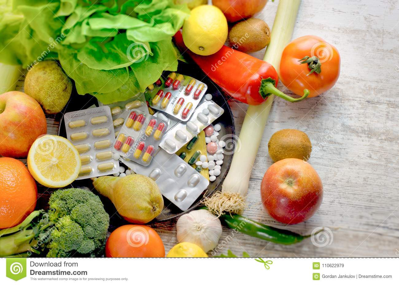 Healthy eating - healthy food, eating organic fruit and vegetable and nutrition supplement