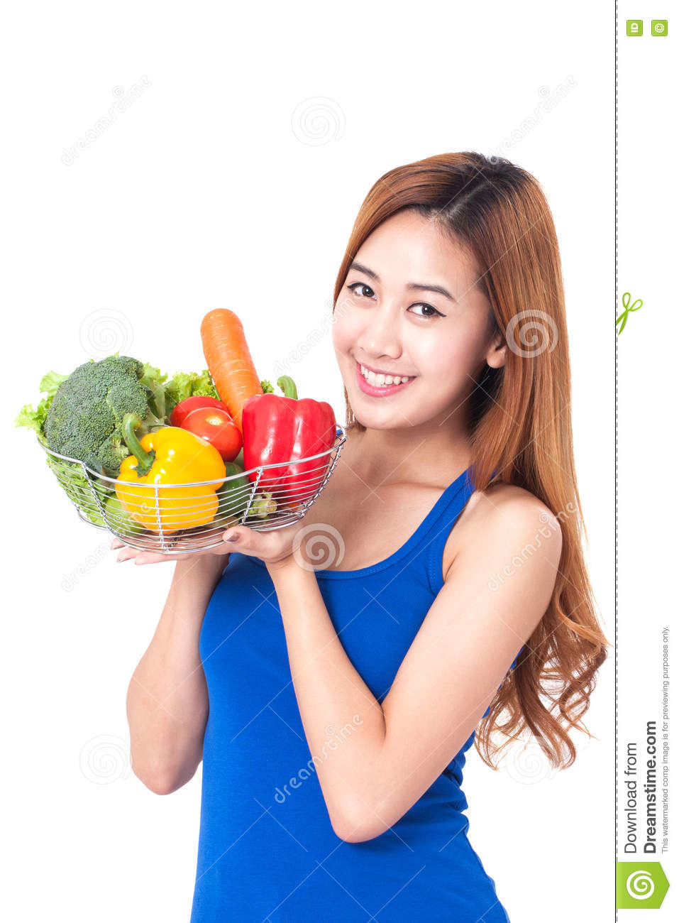 Young Happy Smiling African American Black Teen Girl With: Healthy Eating, Happy Young Woman With Vegetables Stock
