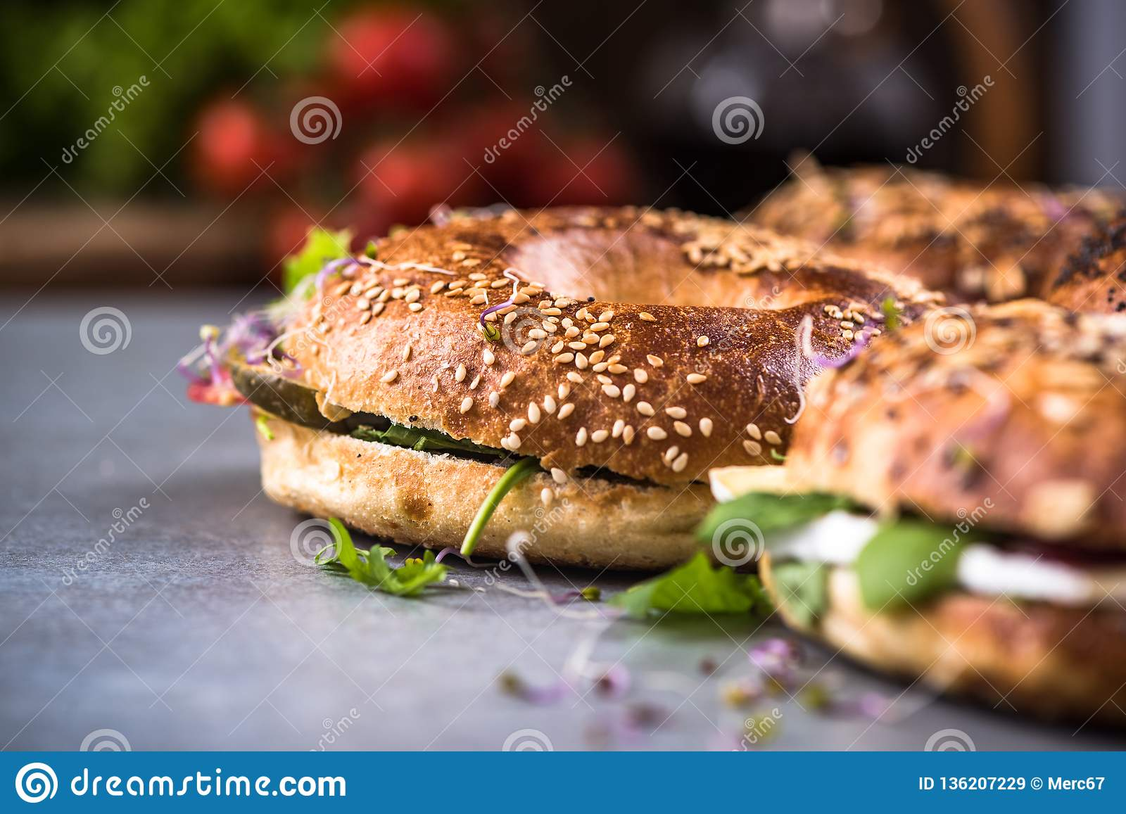 Healthy eating,homemade bagels,close up view