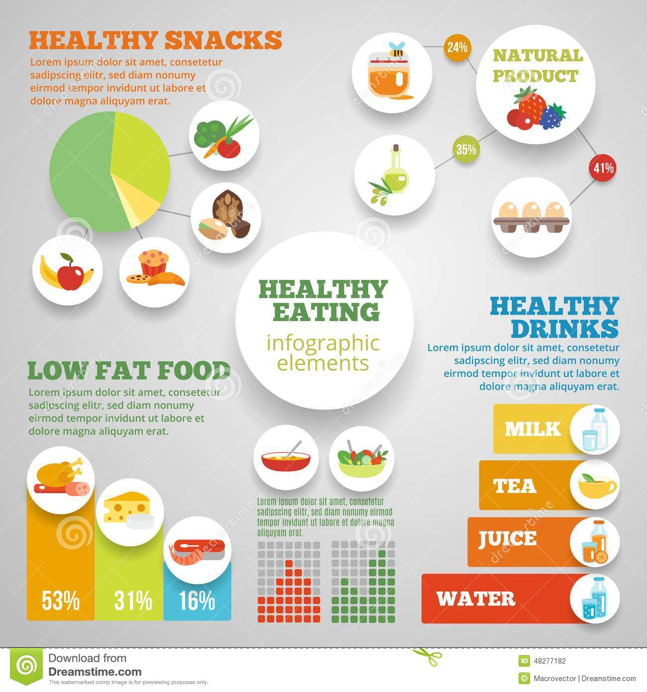 Healthy Eating Infographic Stock Vector - Image: 48277182 Healthy Food Infographics