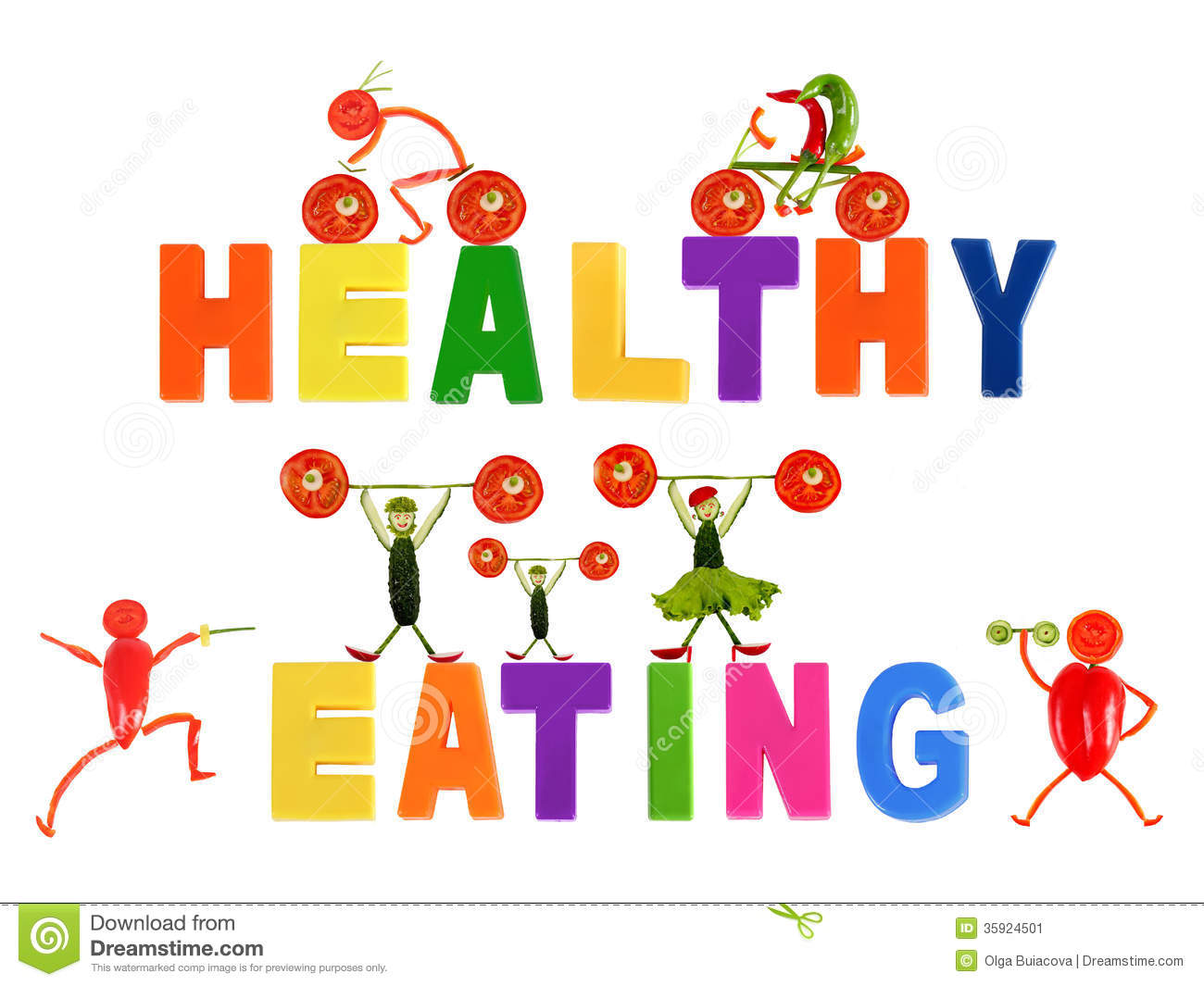 Healthy Eating Little Funny People Made Of Vegetables