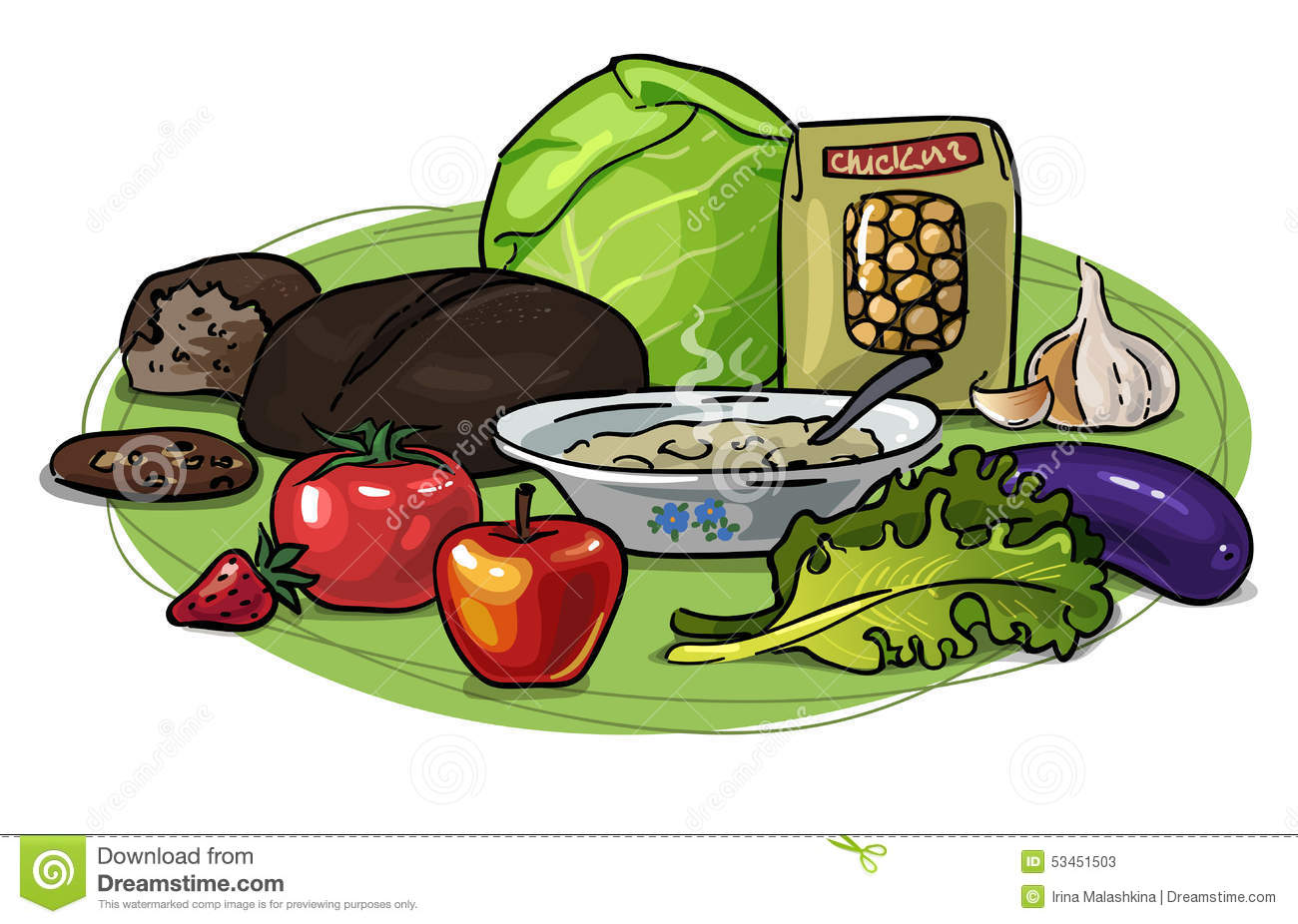 Healthy Eating Low Carb Vector Composition Illustration 53451503