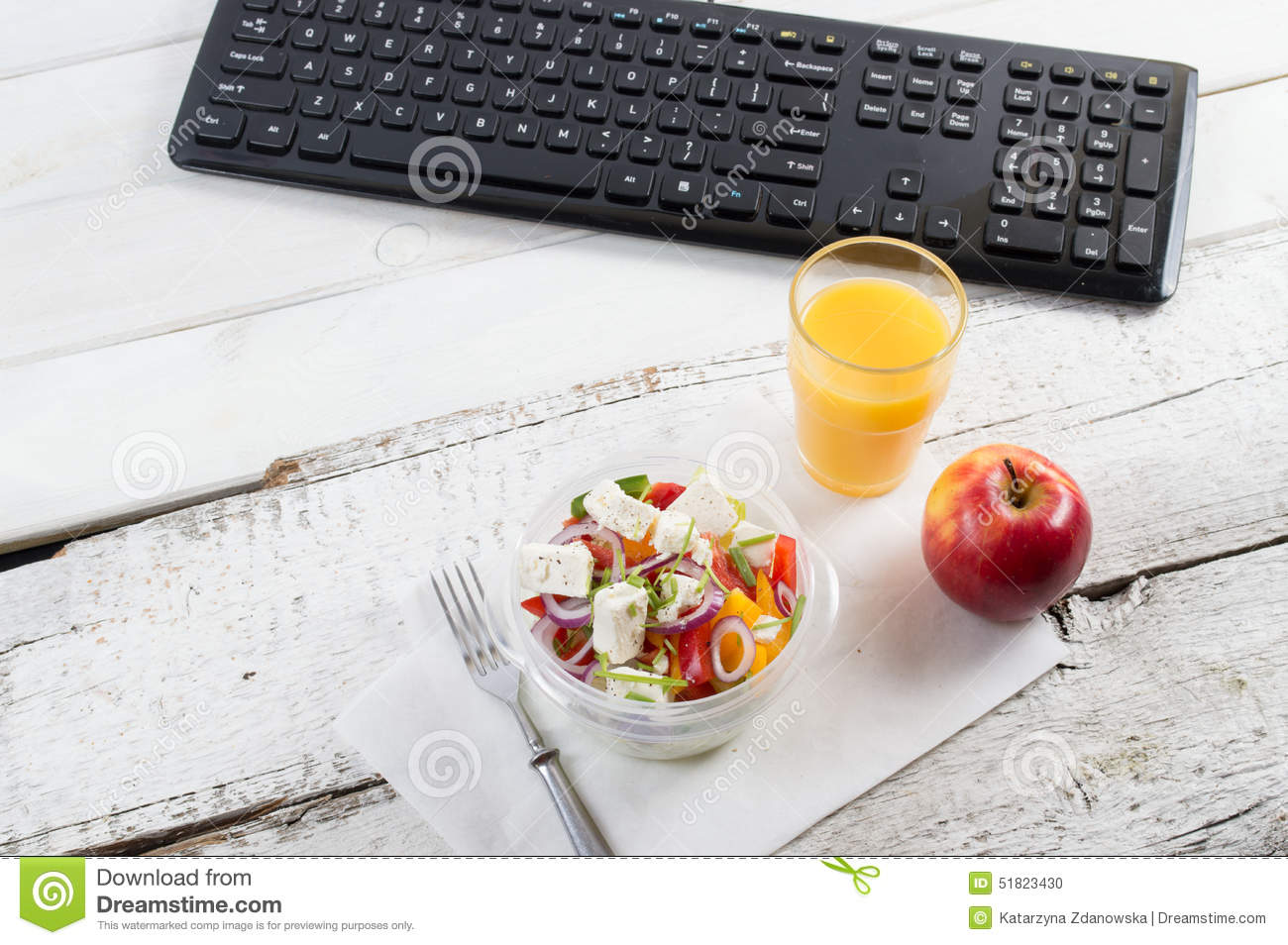 healthy eating for lunch to work food in the office stock photo