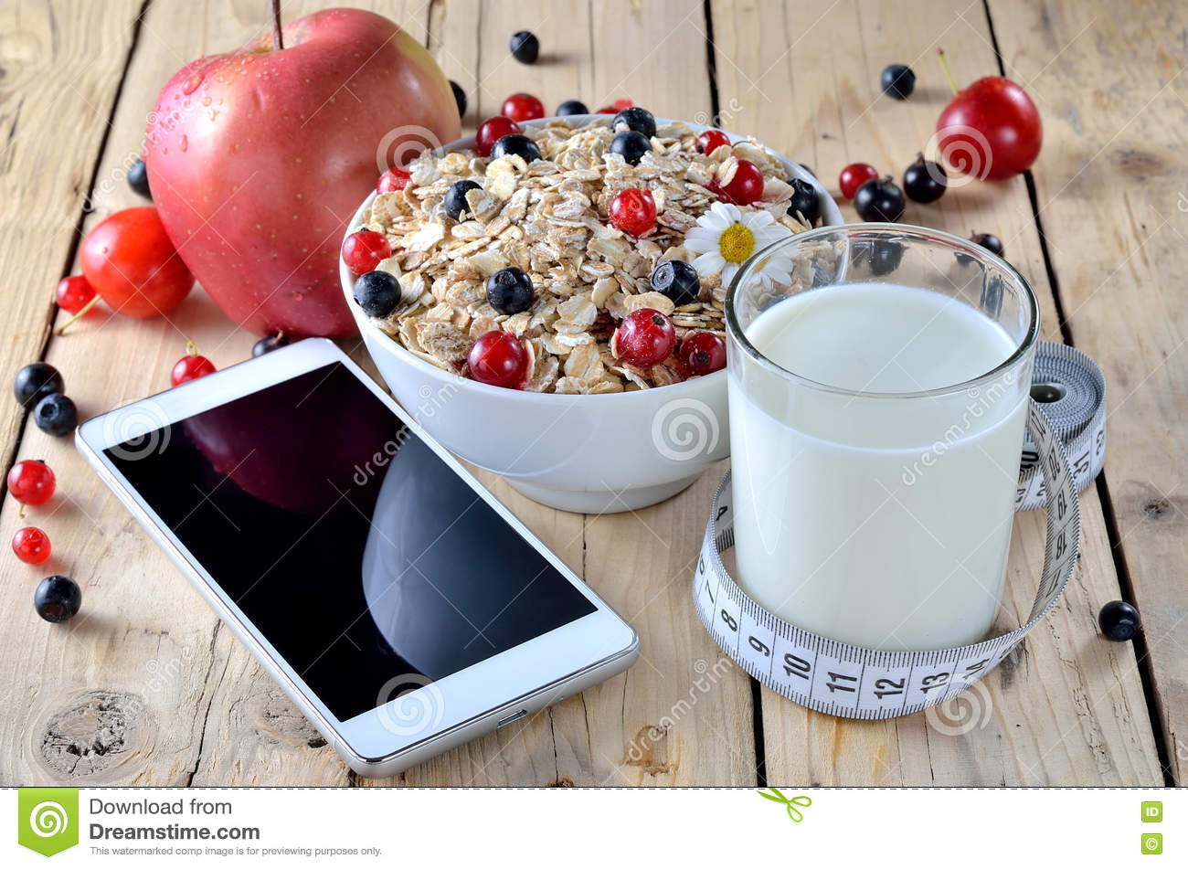 Download Healthy Eating Oatmeal With Berries A Glass Of Milk And Telep Stock Image