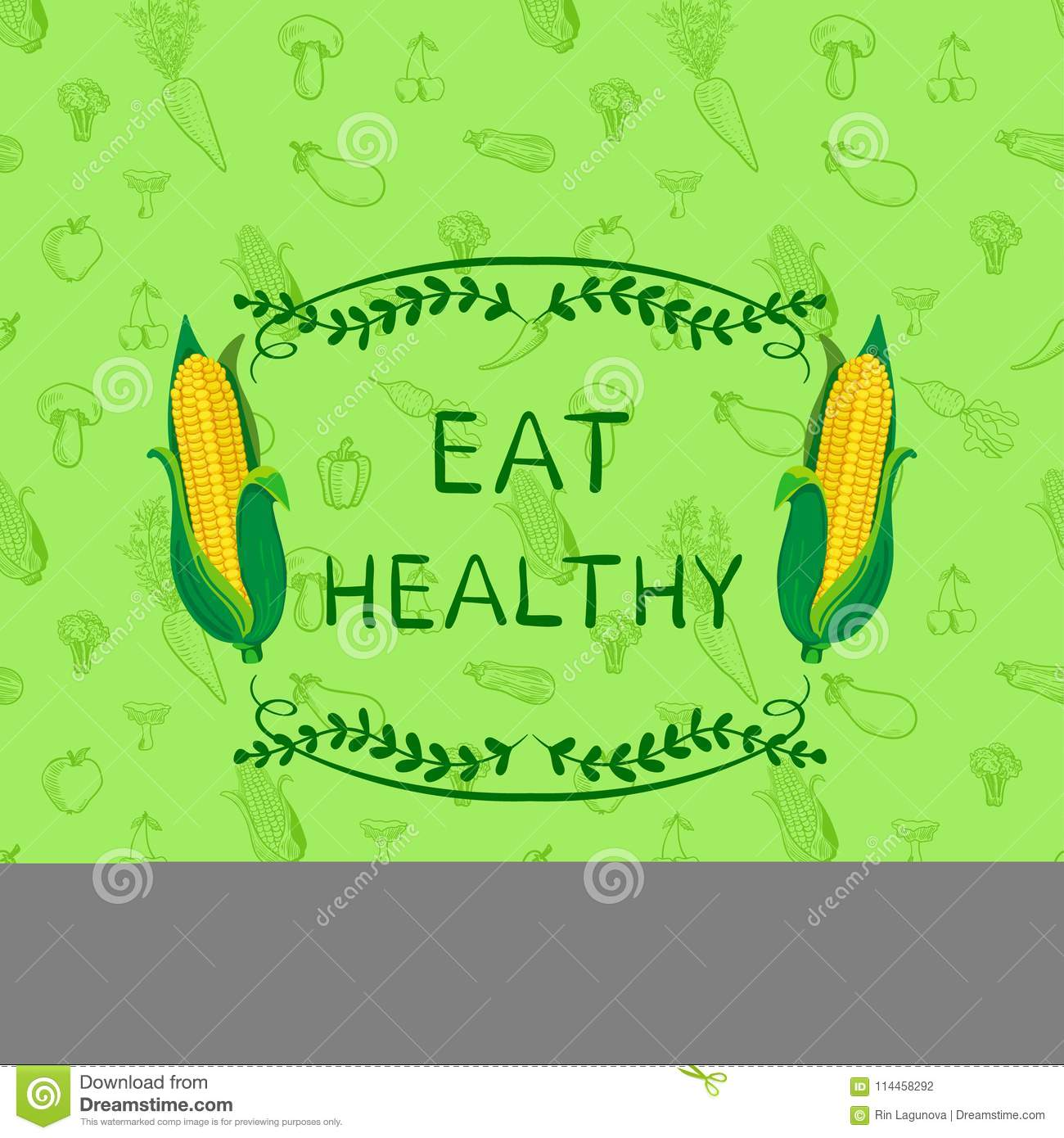 Healthy Eating VECTOR Motivational Poster Design Template, Doodle Hand Drawn Seamless Pattern with Vegetables and Frame