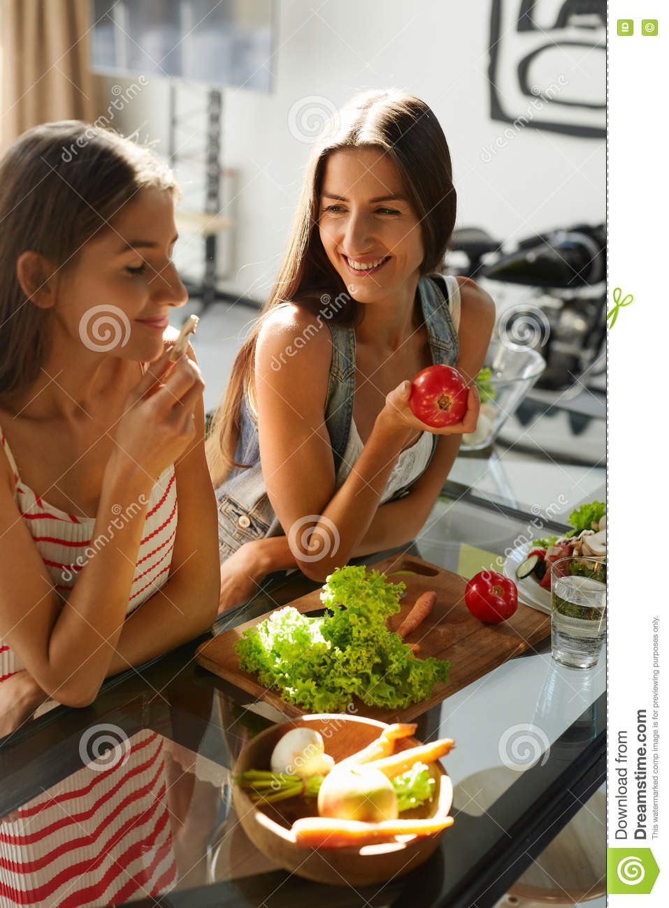 Healthy Eating Women Cooking Salad In Kitchen Fitness