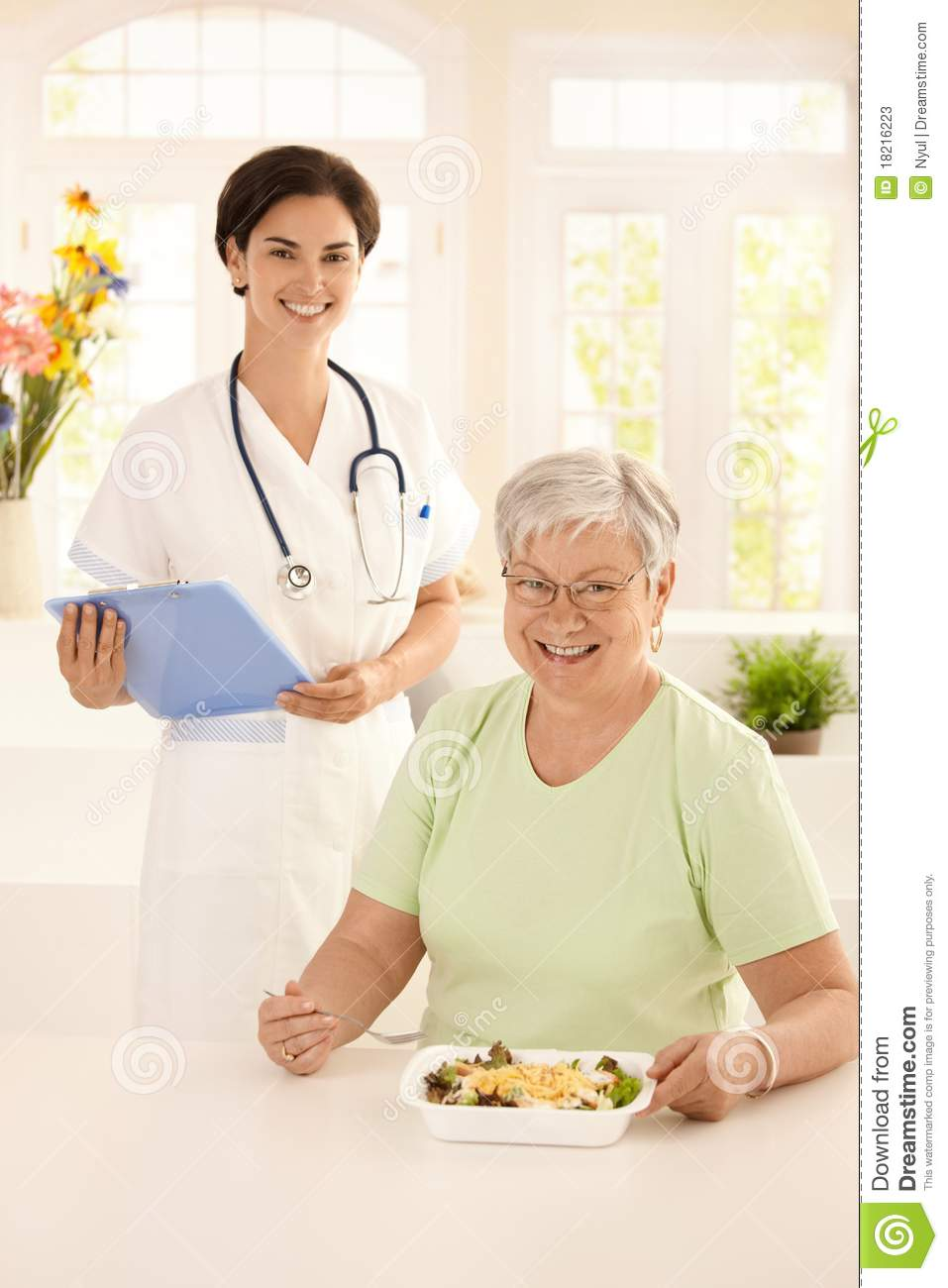 Healthy Elderly Woman Eating Salad Stock Image - Image ...