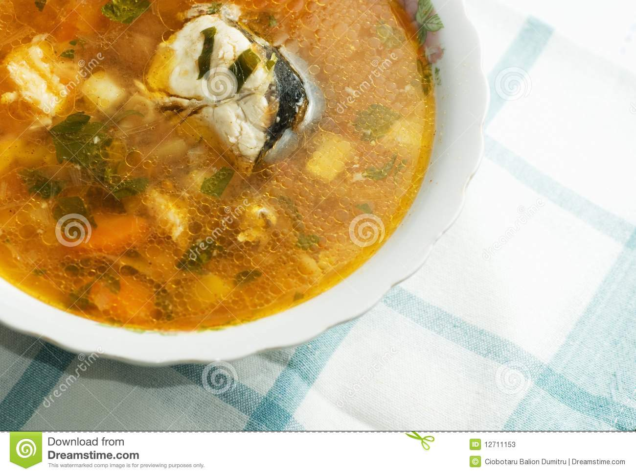 healthy fish soup stock photos image 12711153