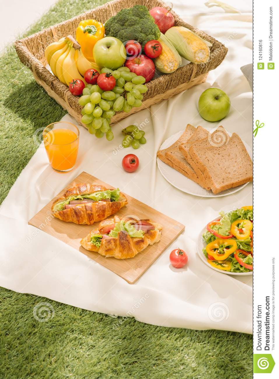 Healthy food and accessories outdoor summer or spring picnic, Pi