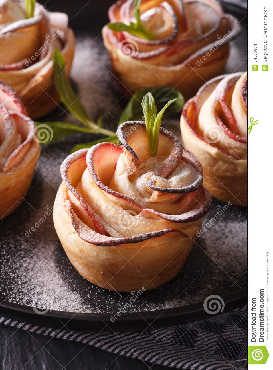 healthy food apple pie in the form of roses macro vertical stock photo image 54555364. Black Bedroom Furniture Sets. Home Design Ideas