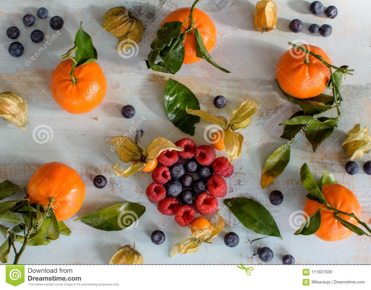Healthy Food Background With Berries Blueberry Raspberry And Citrus