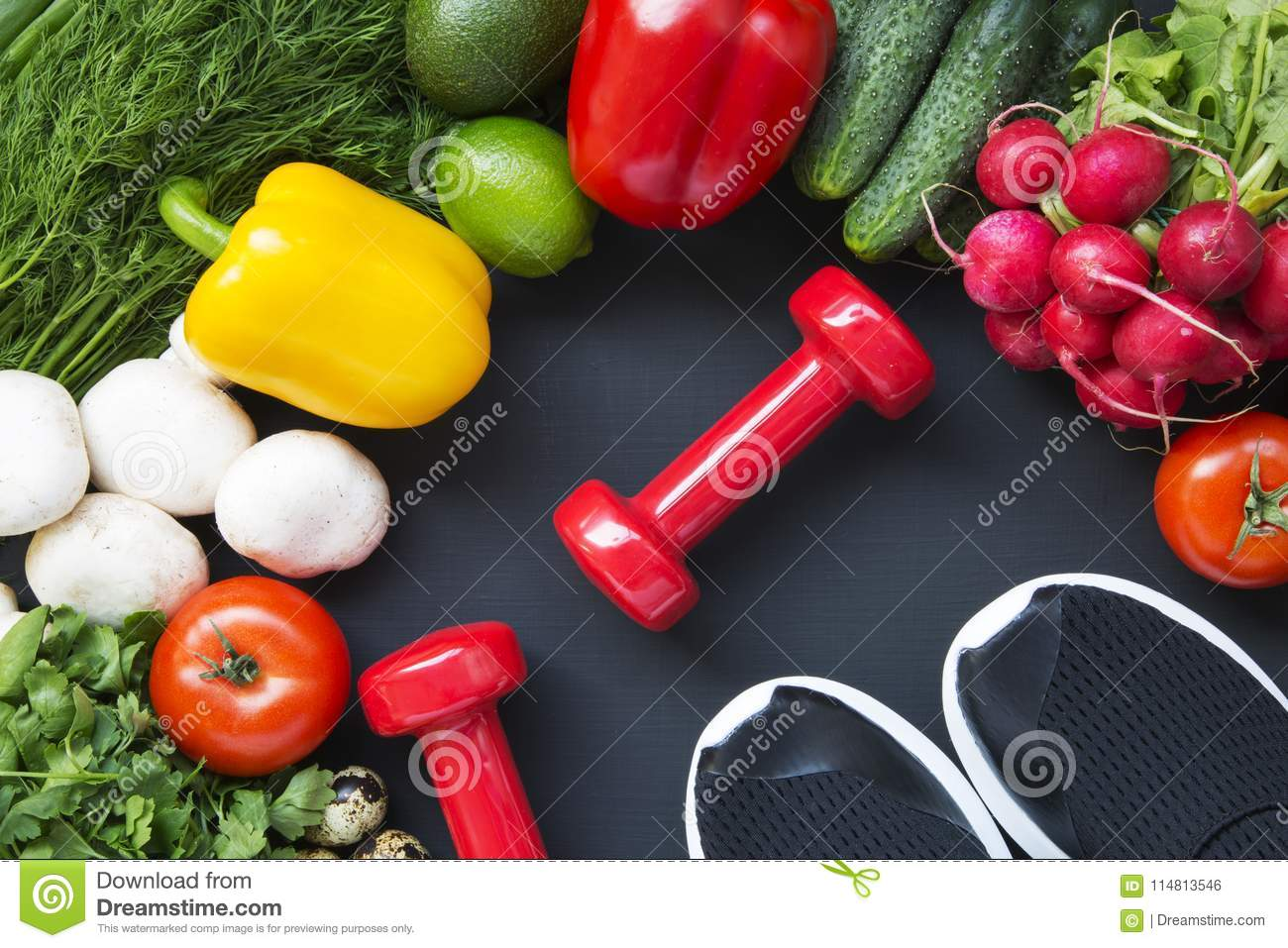 Healthy food background. Ingredients for cooking. Top view. Copy space. Dark background. Fitness diet.