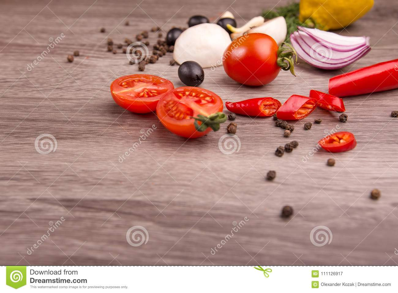 Healthy food background / studio photo of different fruits and vegetables on wooden table.
