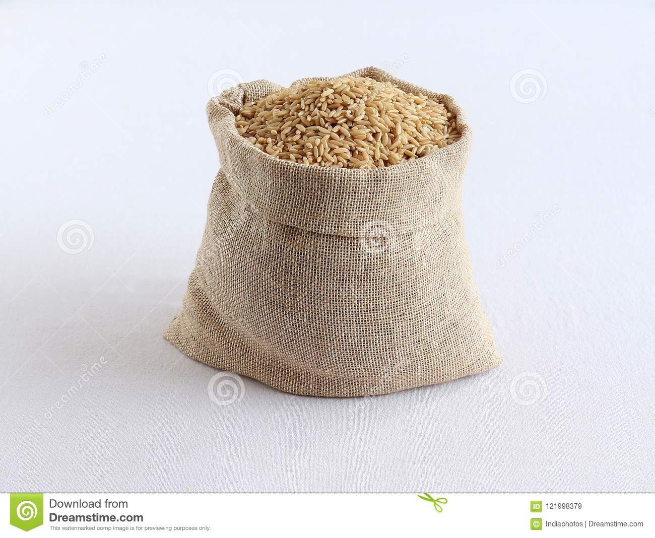 Healthy Food Brown Rice in a Sack