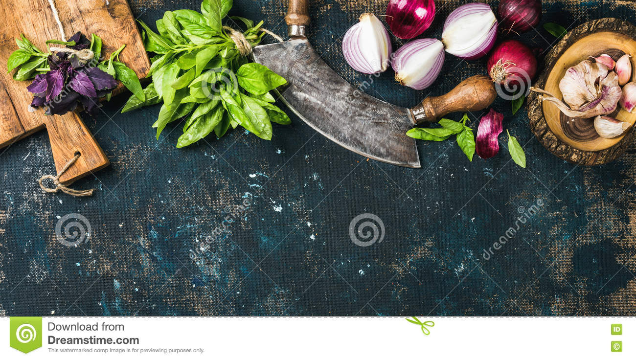 Download Healthy Food Cooking Background Over Grunge Dark Blue Plywood Texture Stock Photo - Image of grunge, ingredient: 76127160