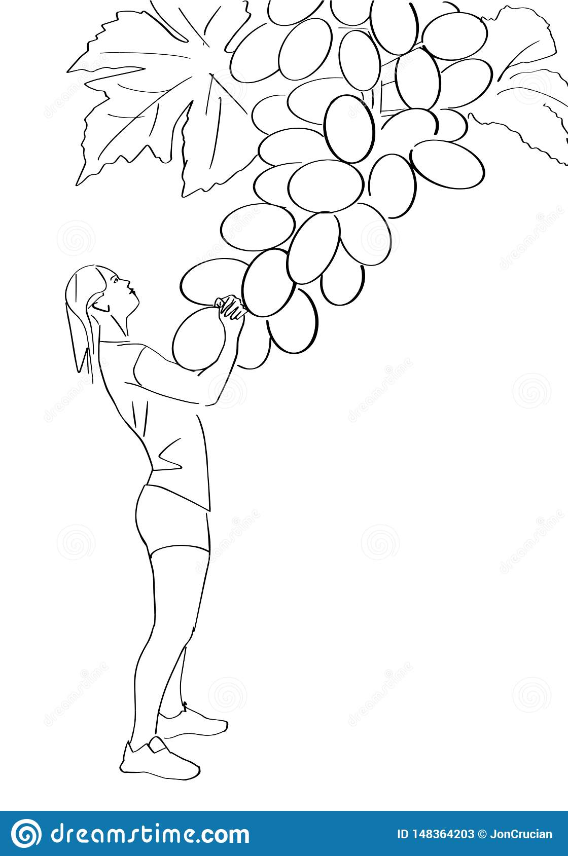 Young woman pulls a grape.
