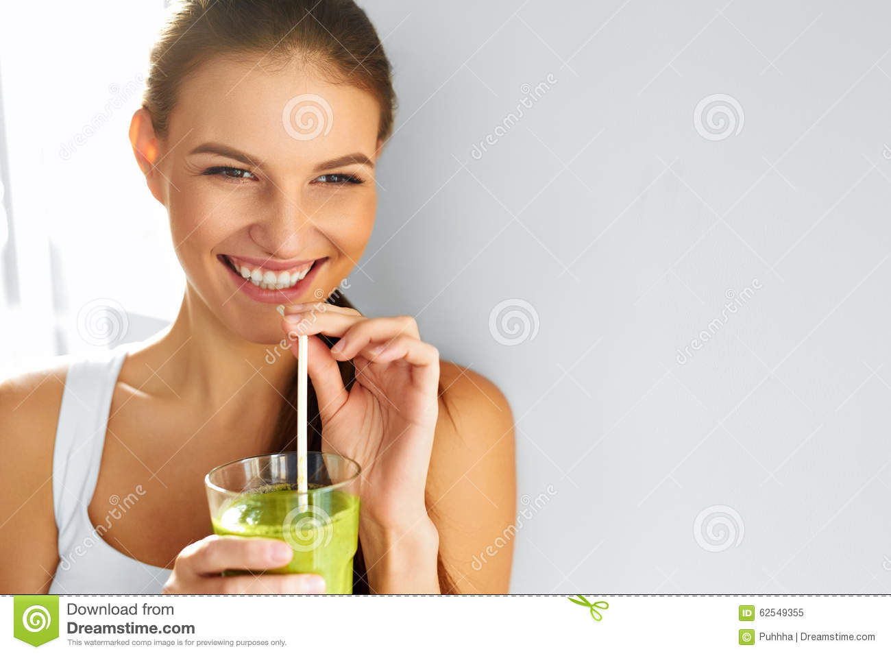 Healthy Food Eating. Woman Drinking Smoothie. Diet. Lifestyle. N