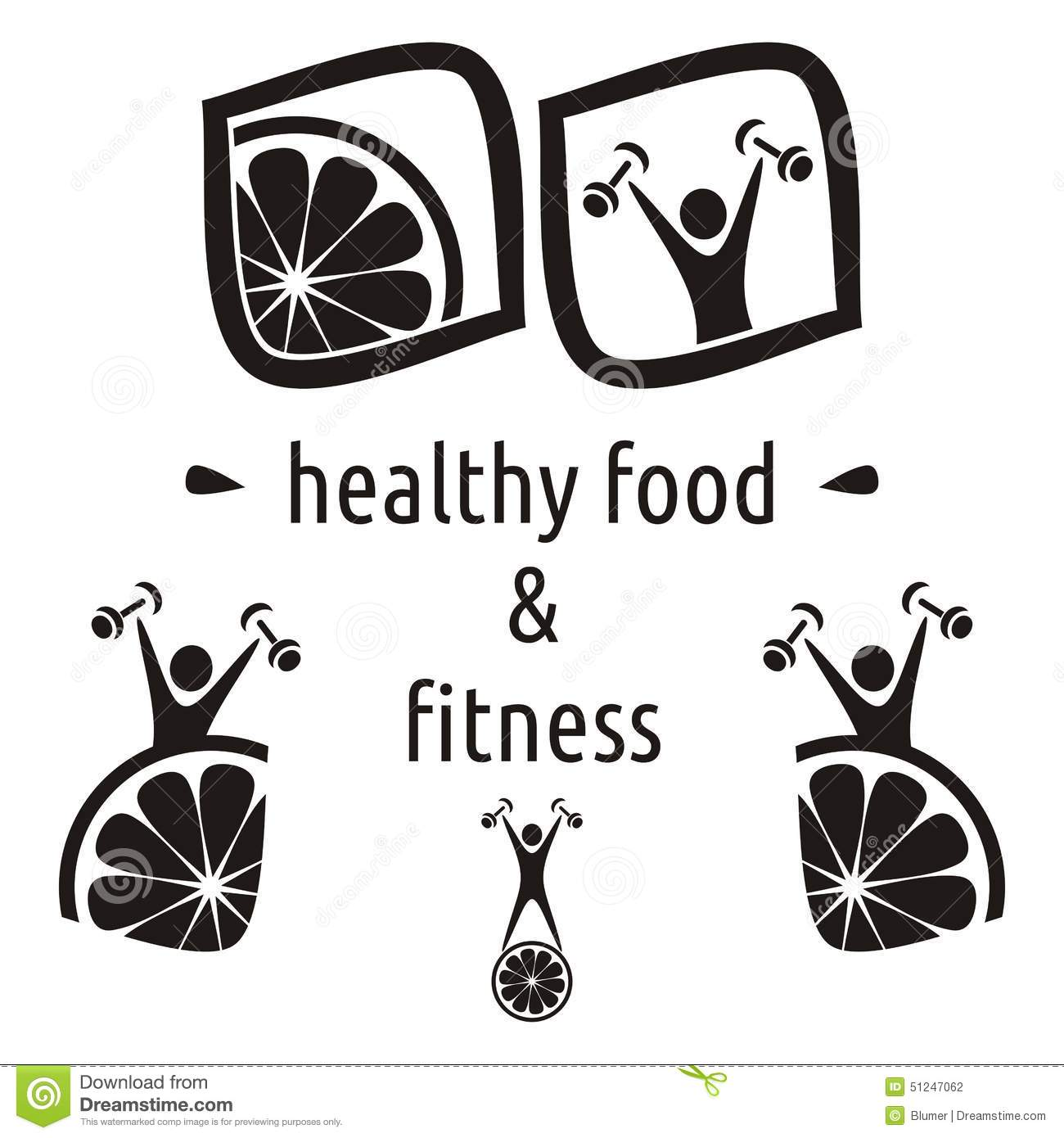 Healthy Food And Fitness Symbols Stock Vector - Image ...