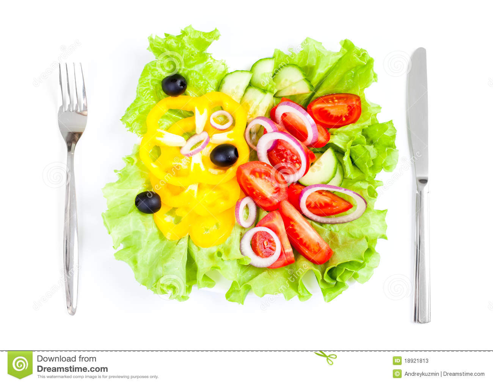 Healthy Food Fresh Vegetable Salad Top View Stock Photos - Image: 18921813