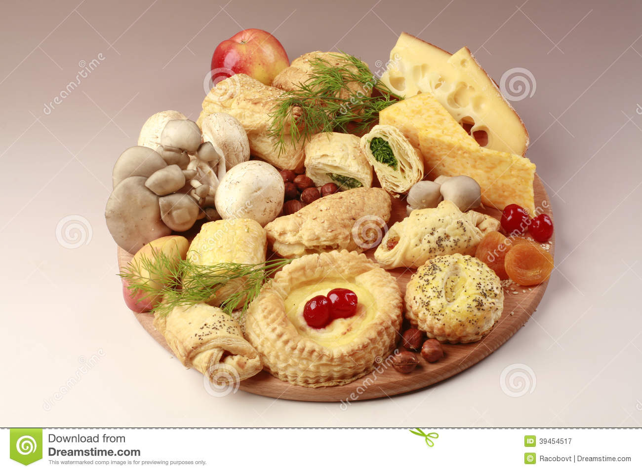 Healthy food, fruits and pastry