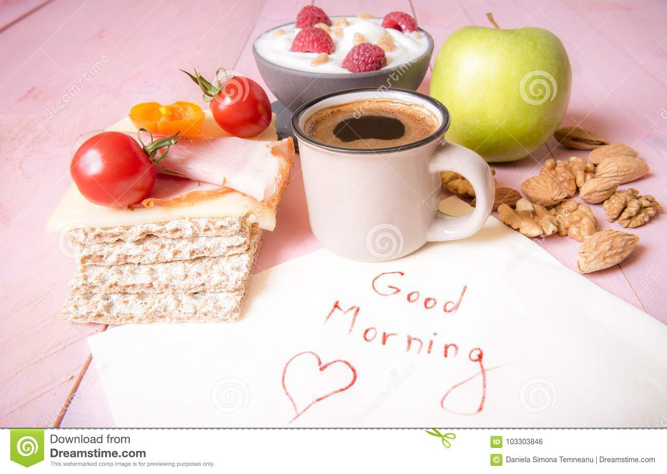 Healthy Food And Good Morning Message Stock Photo Image Of