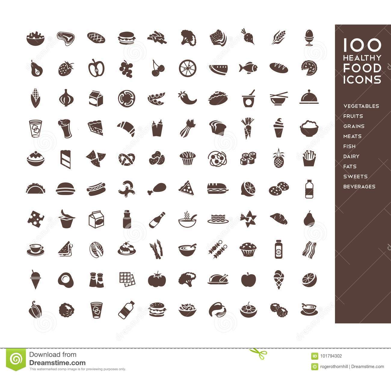 100 healthy food icons