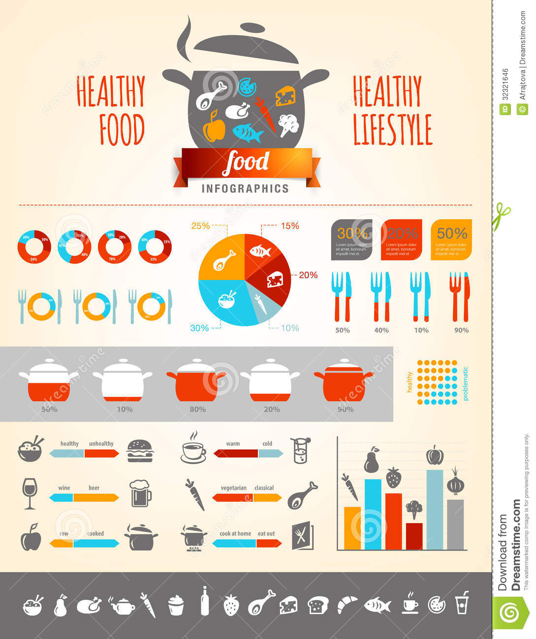 Healthy Food Infographics stock vector  Illustration of cutlery