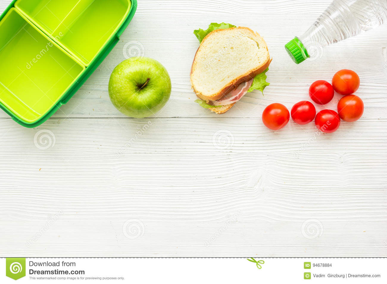 Dinner Table Background healthy food in lunchbox for dinner at school white table