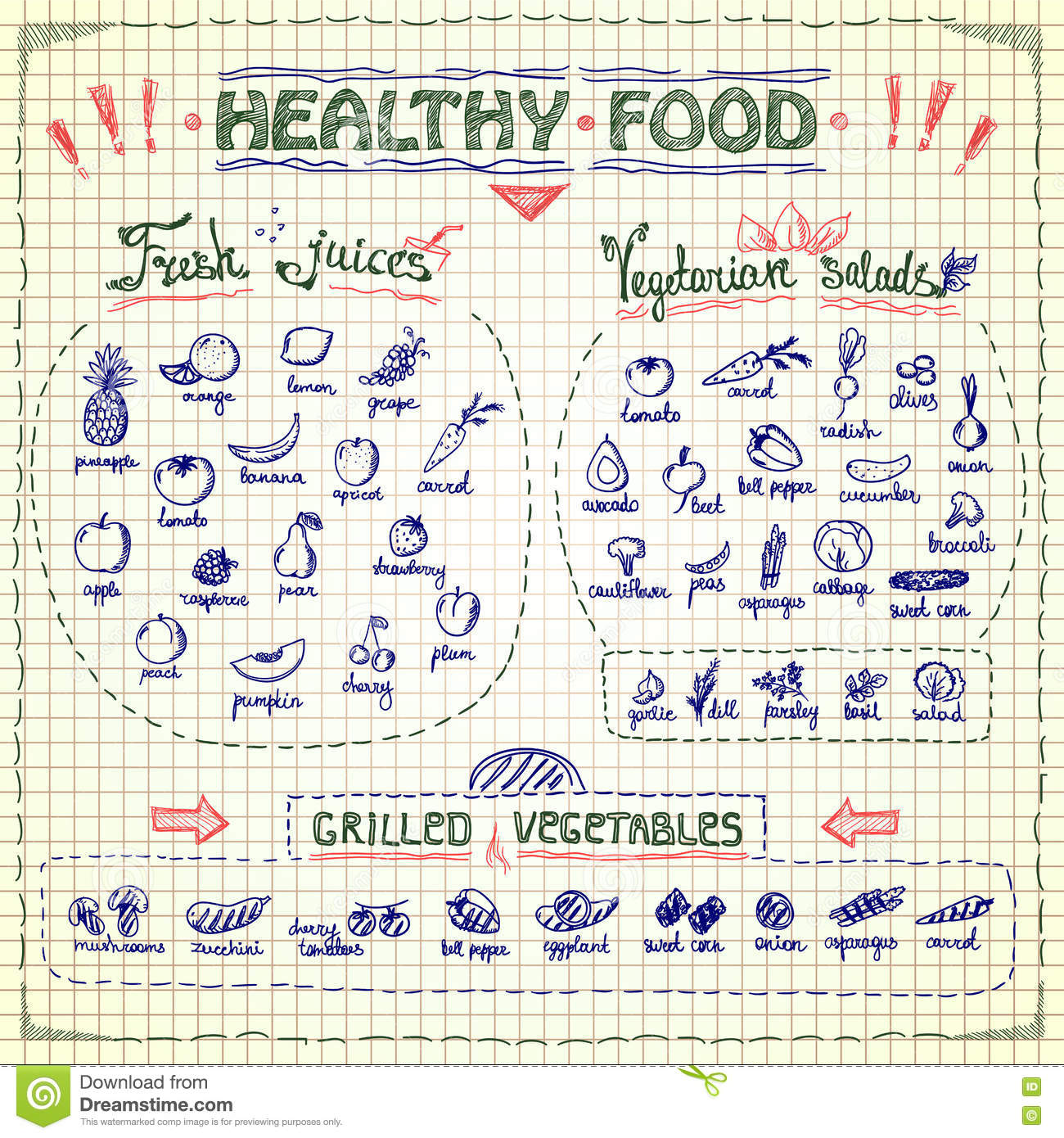 Download Healthy Food Menu List With Hand Drawn Assorted Fruits And Vegetables Graphic Symbols Stock Vector