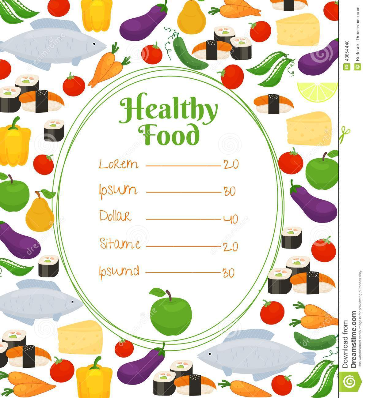 Healthy food menu template stock vector illustration of for Healthiest fish list