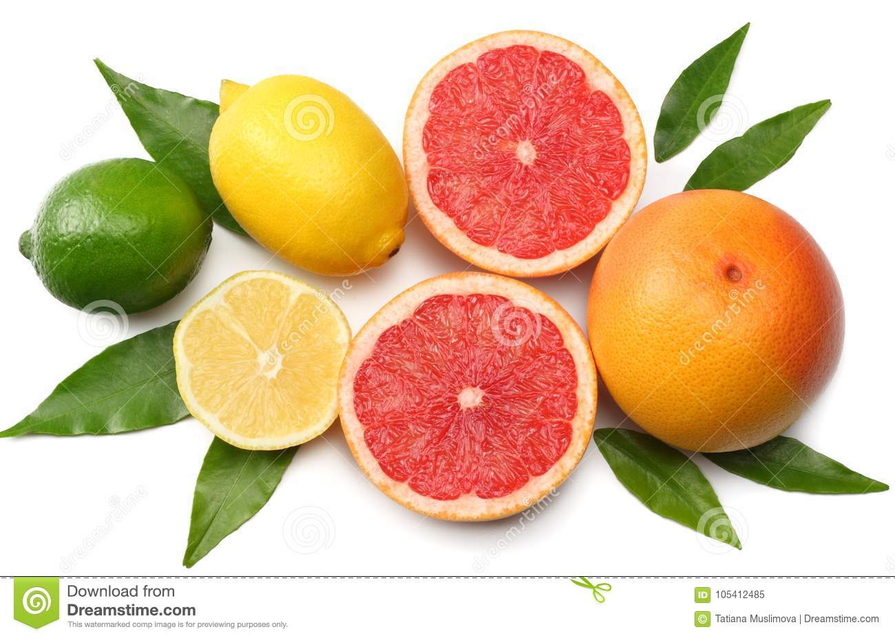 Healthy food. mix lemon, green lime, orange and grapefruit with green leaf isolated on white background. top view with copy space