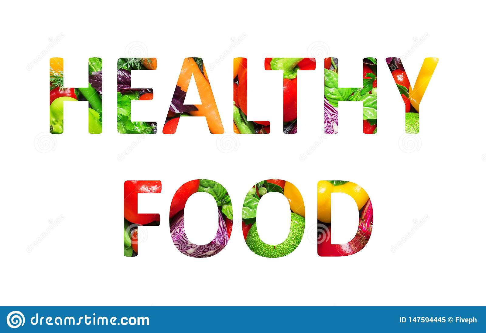 Healthy food, multi-colored text cut out of vegetables photo, the inscription on white background