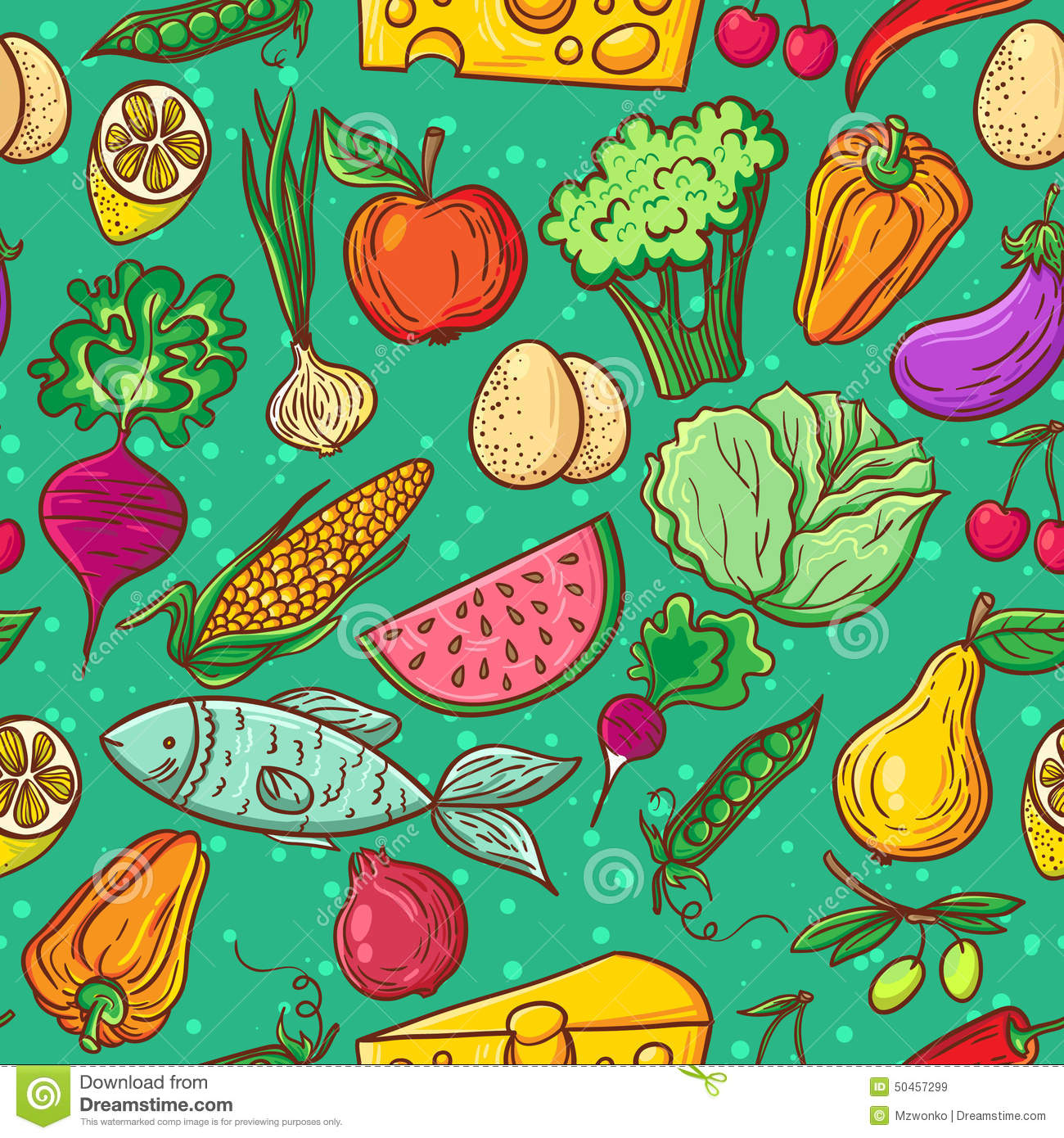 healthy food pattern stock vector image 50457299