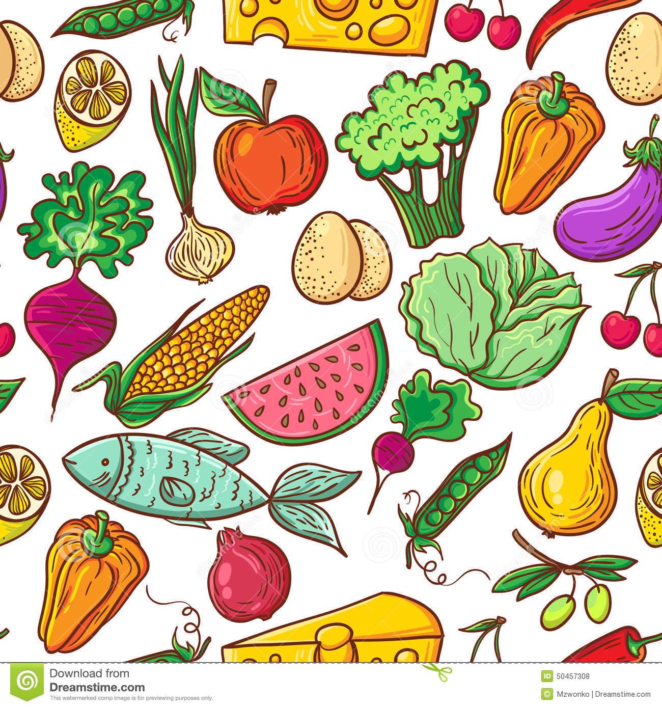 Healthy Food Pattern Stock Vector Illustration Of Collection 50457308