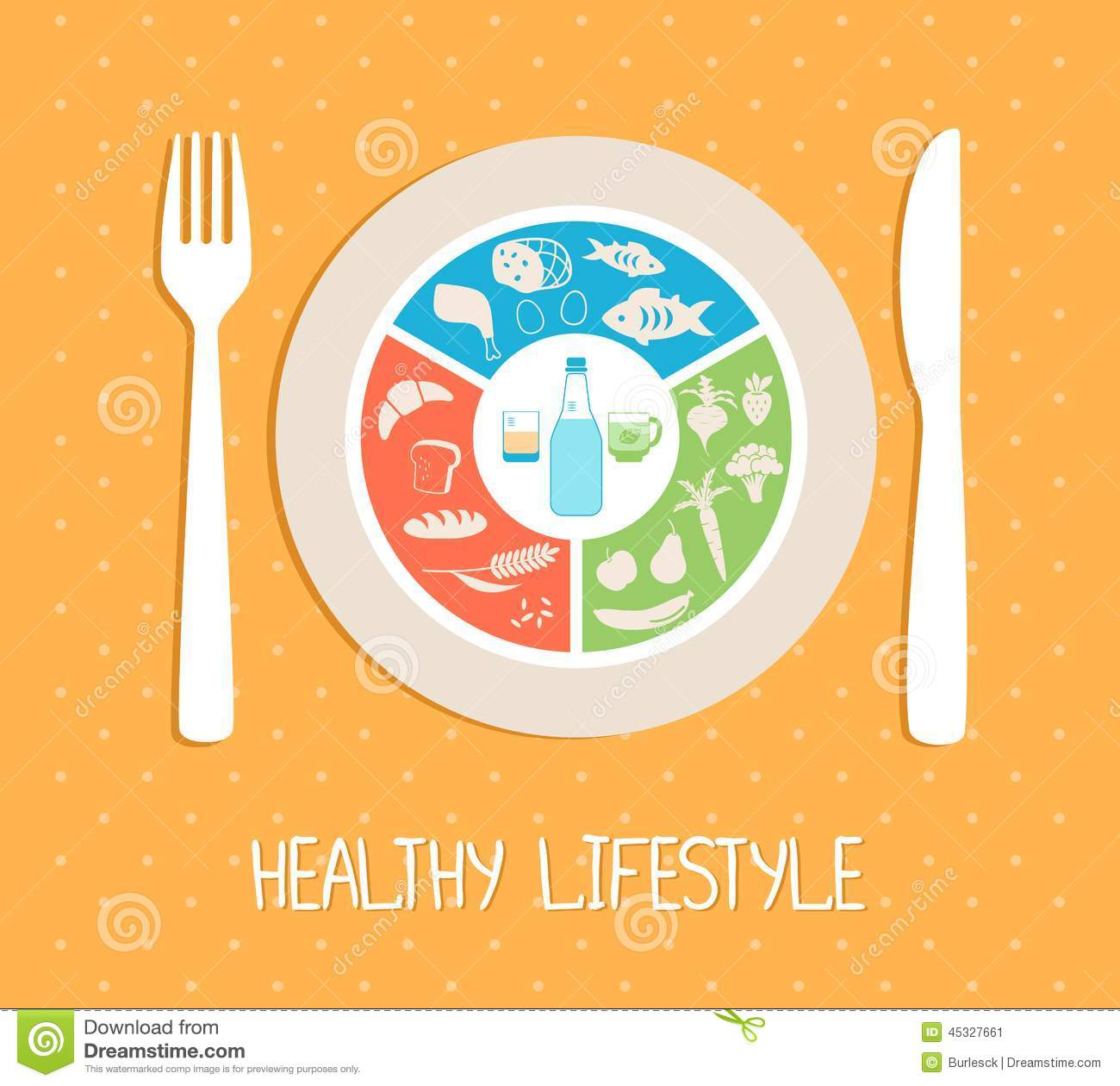 healthy food plate stock vector image 45327661