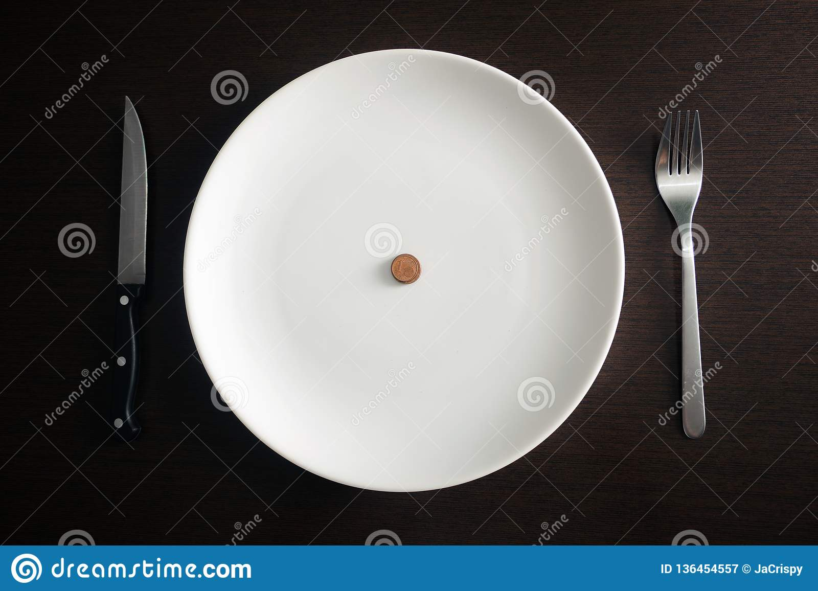 Healthy food, poverty, saving money: coins on a white plate at dining room