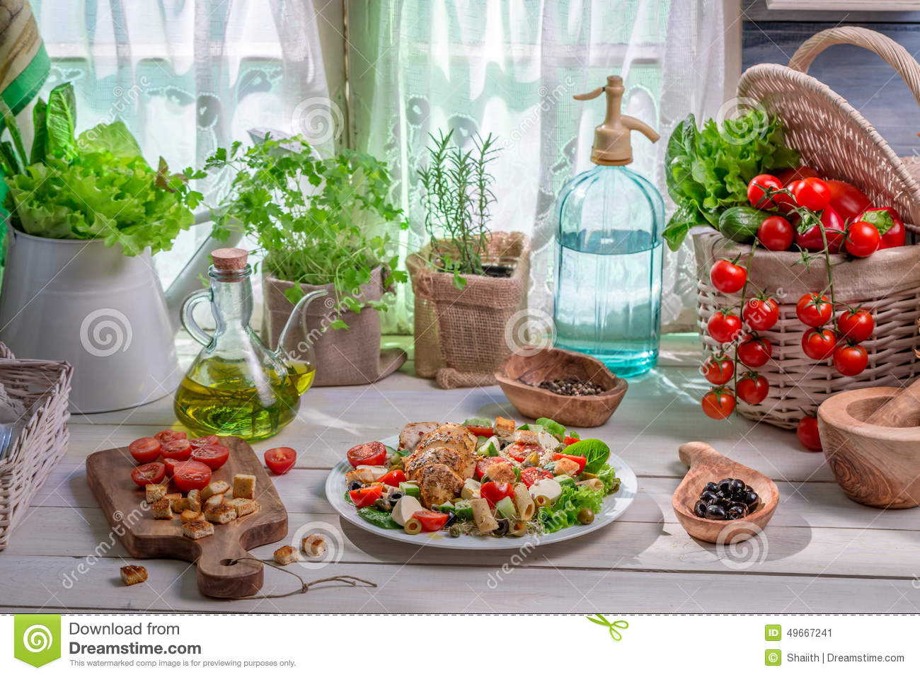 Healthy Food Prepared In The Spring Kitchen Stock Photo - Image ...