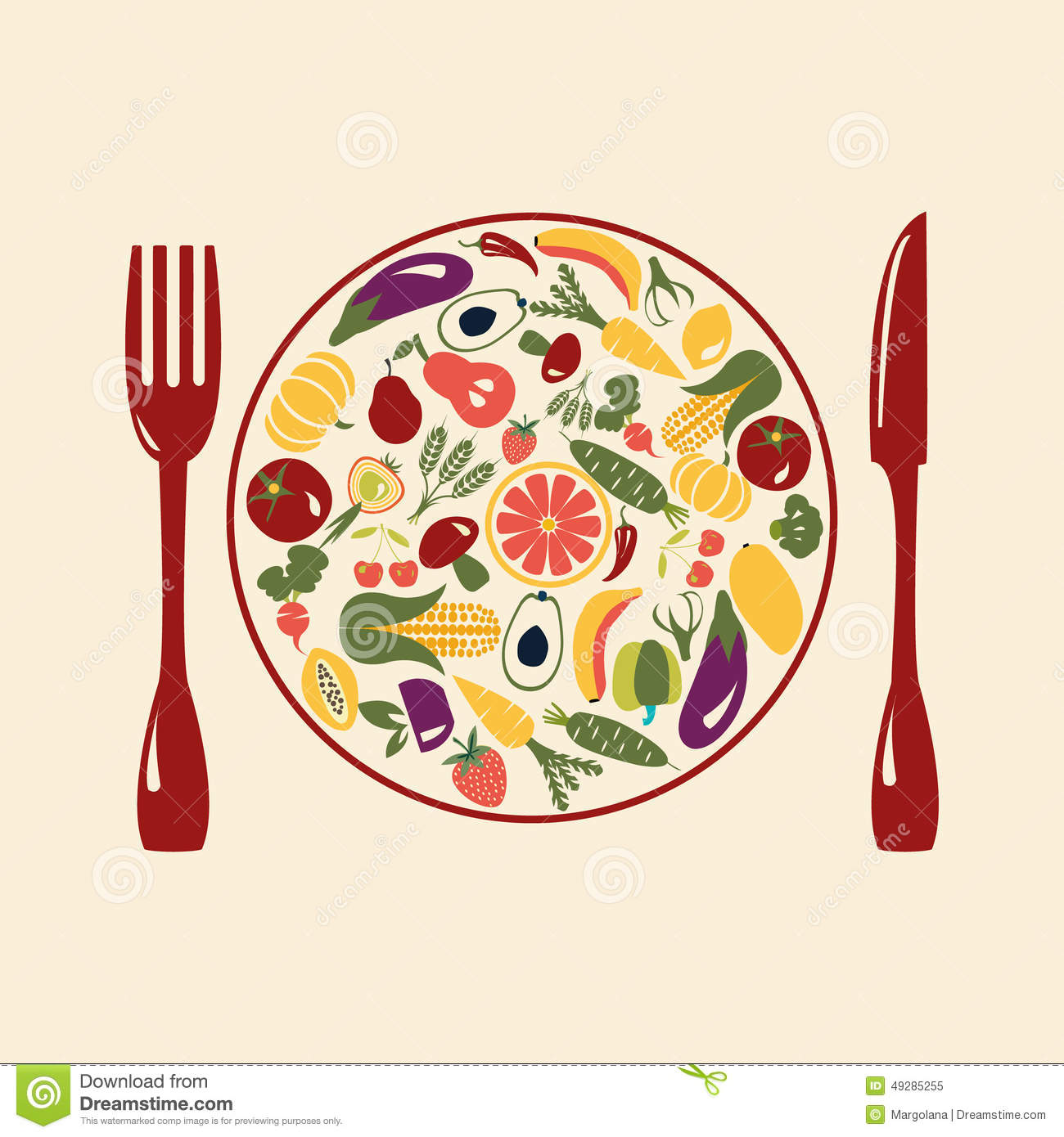 Healthy Food Restaurant Icons Stock Vector Image 49285255
