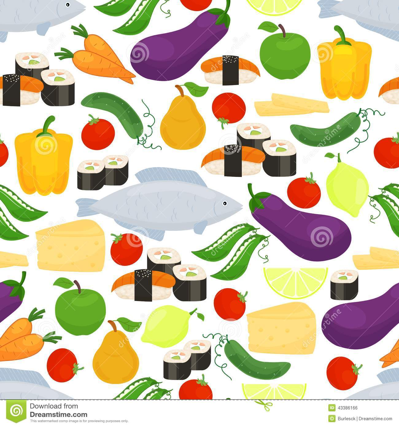 healthy food seamless background pattern stock vector