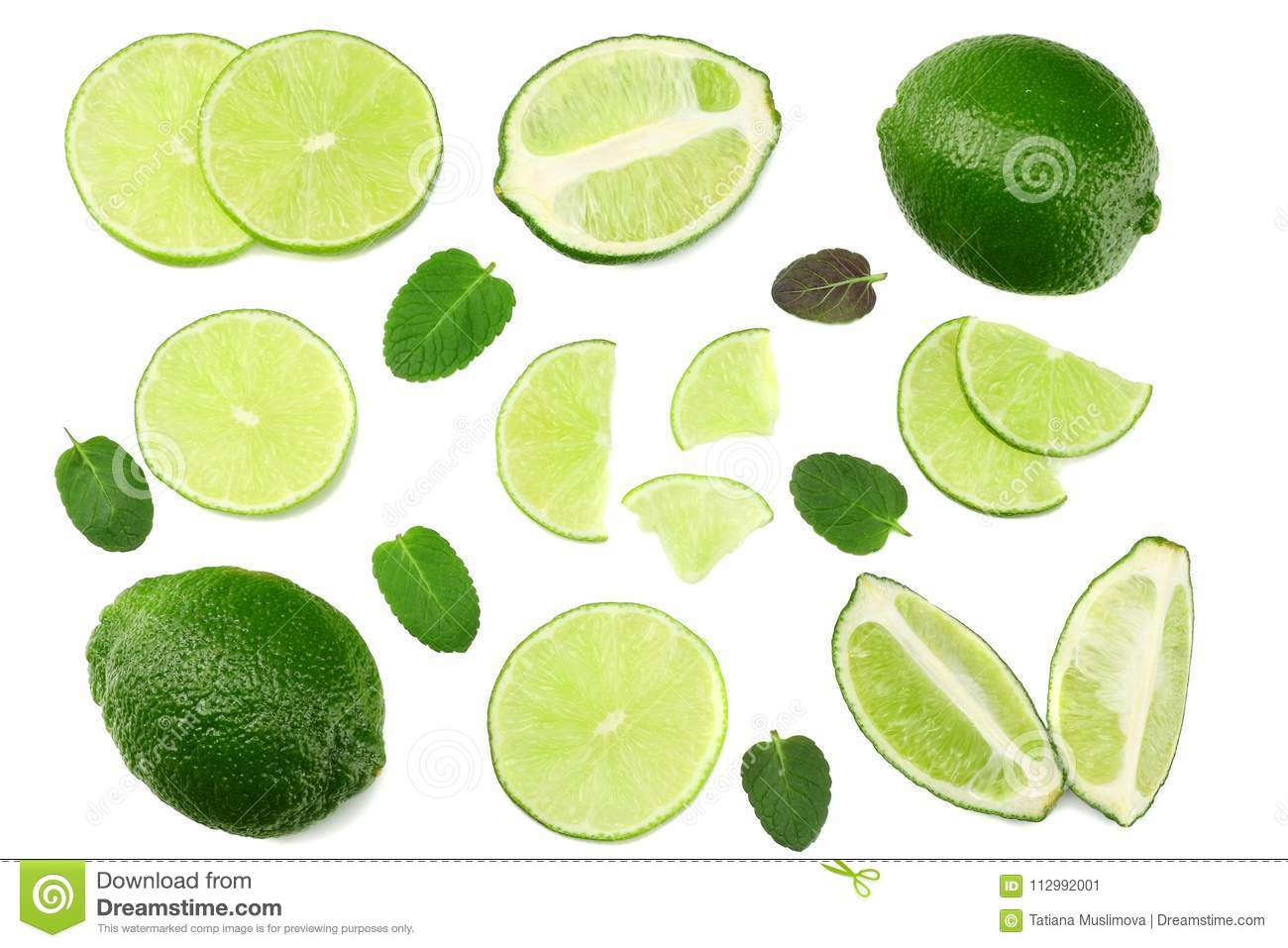 healthy food. sliced lime isolated on white background top view