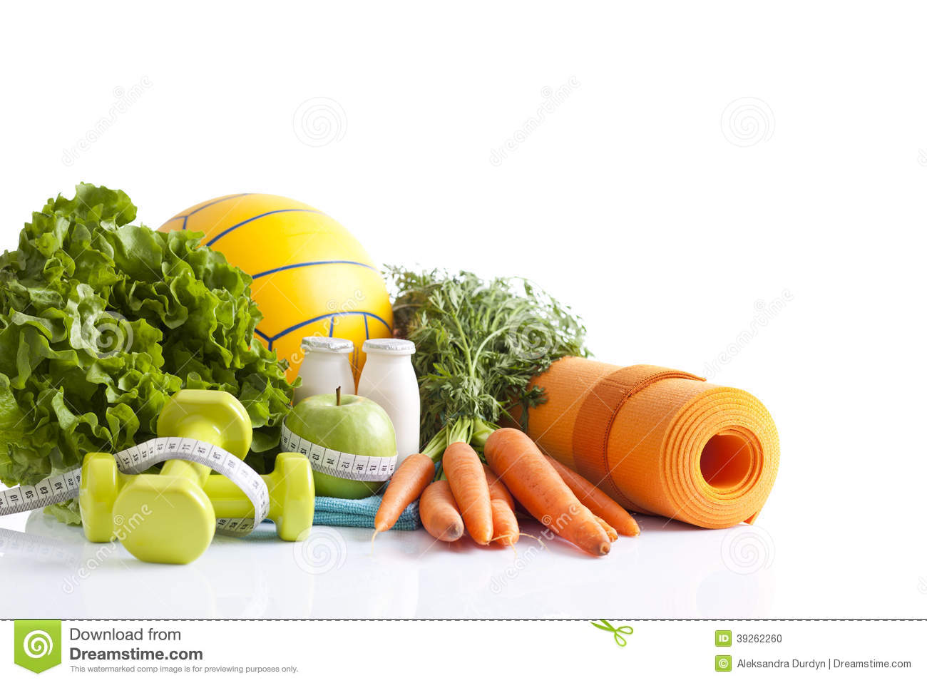 Healthy food and sport equipment isolated on white stock photo image 39262260 - Cuisine soort ...